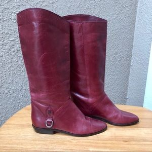 Etienne Aigner 7656 Merlot Leather Tall Boots 6